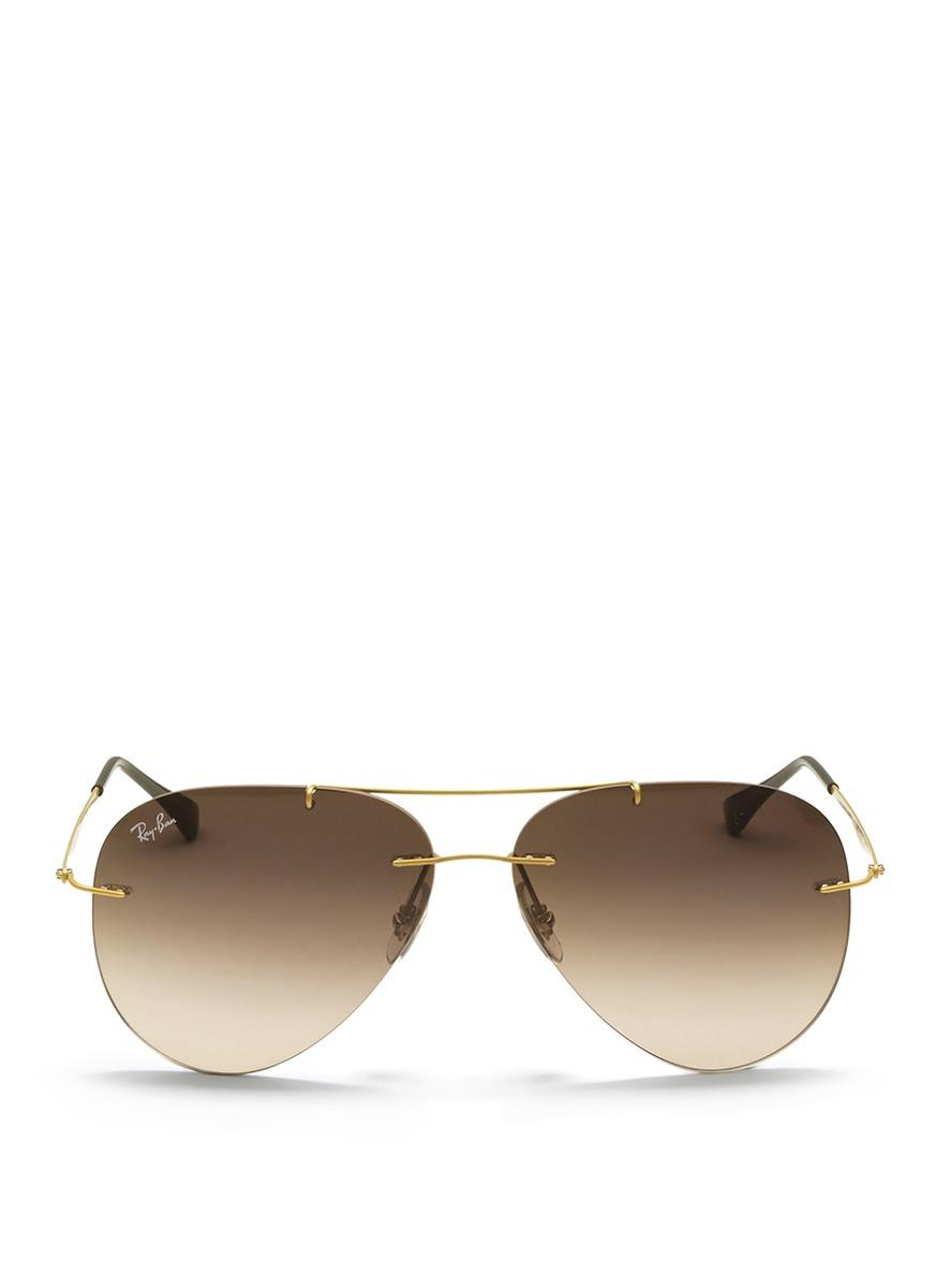 Ray Ban Sunglasses Rimless  ray ban aviator light ray rimless sunglasses in metallic lyst
