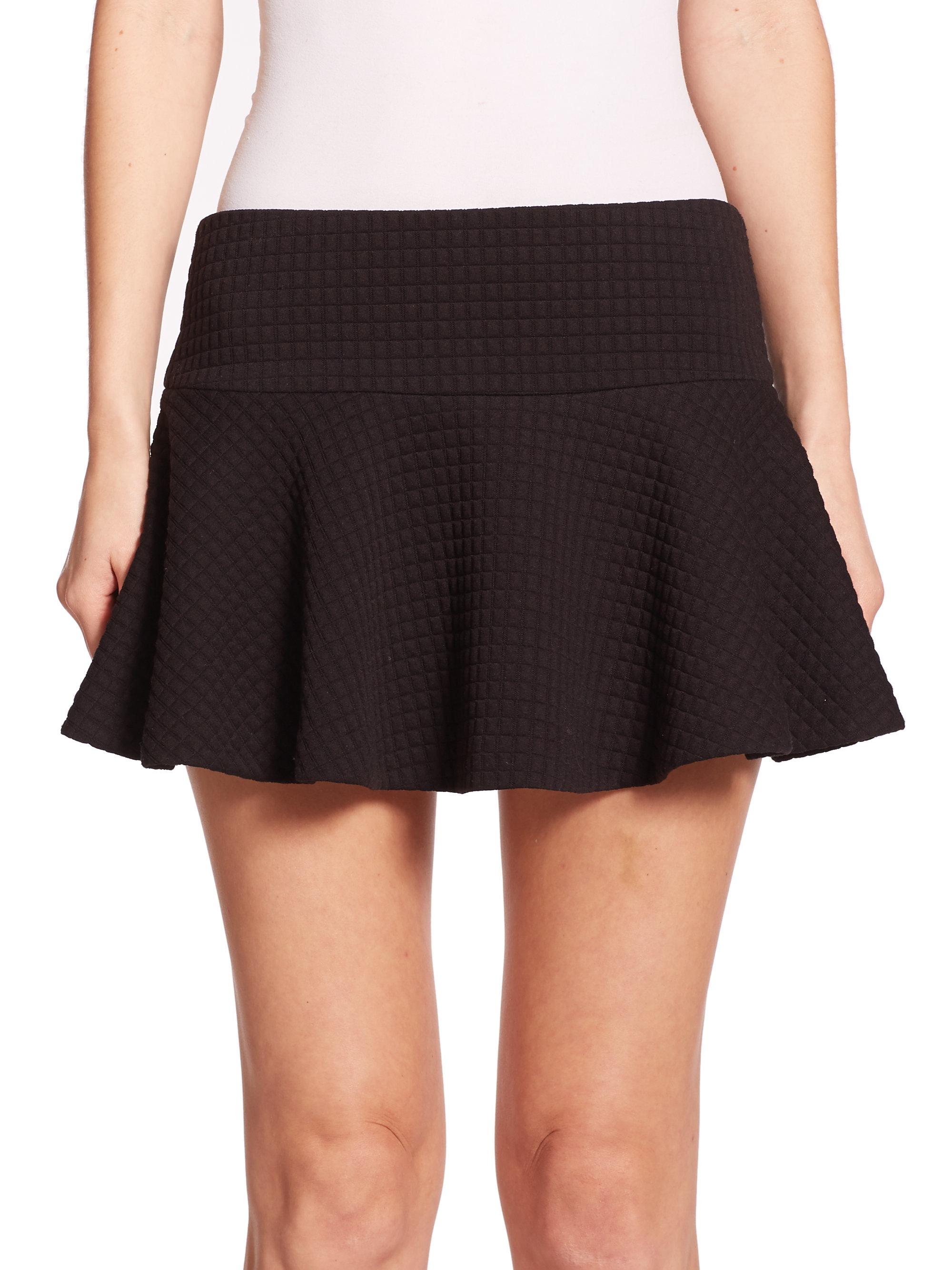 Alice   olivia Drop-waist Textured Knit Miniskirt in Black | Lyst