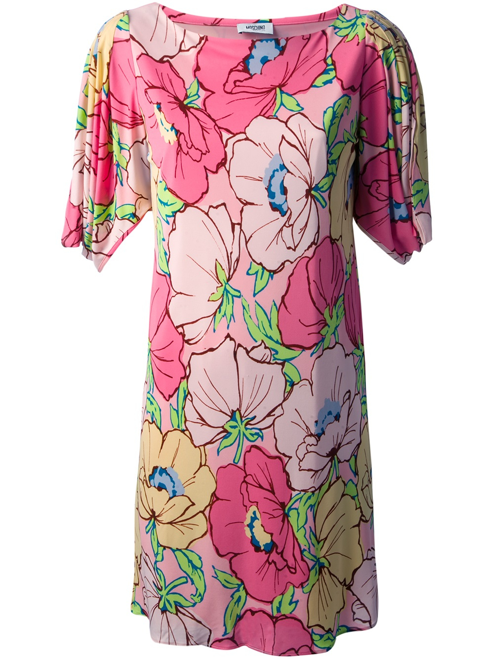 b1cfc7d852c6 Moschino Floral Print Shift Dress in Pink - Lyst
