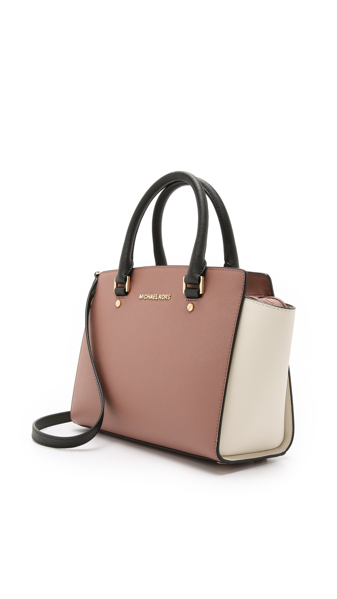 d48a3fe20902 ... hot michael michael kors selma medium color blocked satchel in pink lyst  1295e 8c710