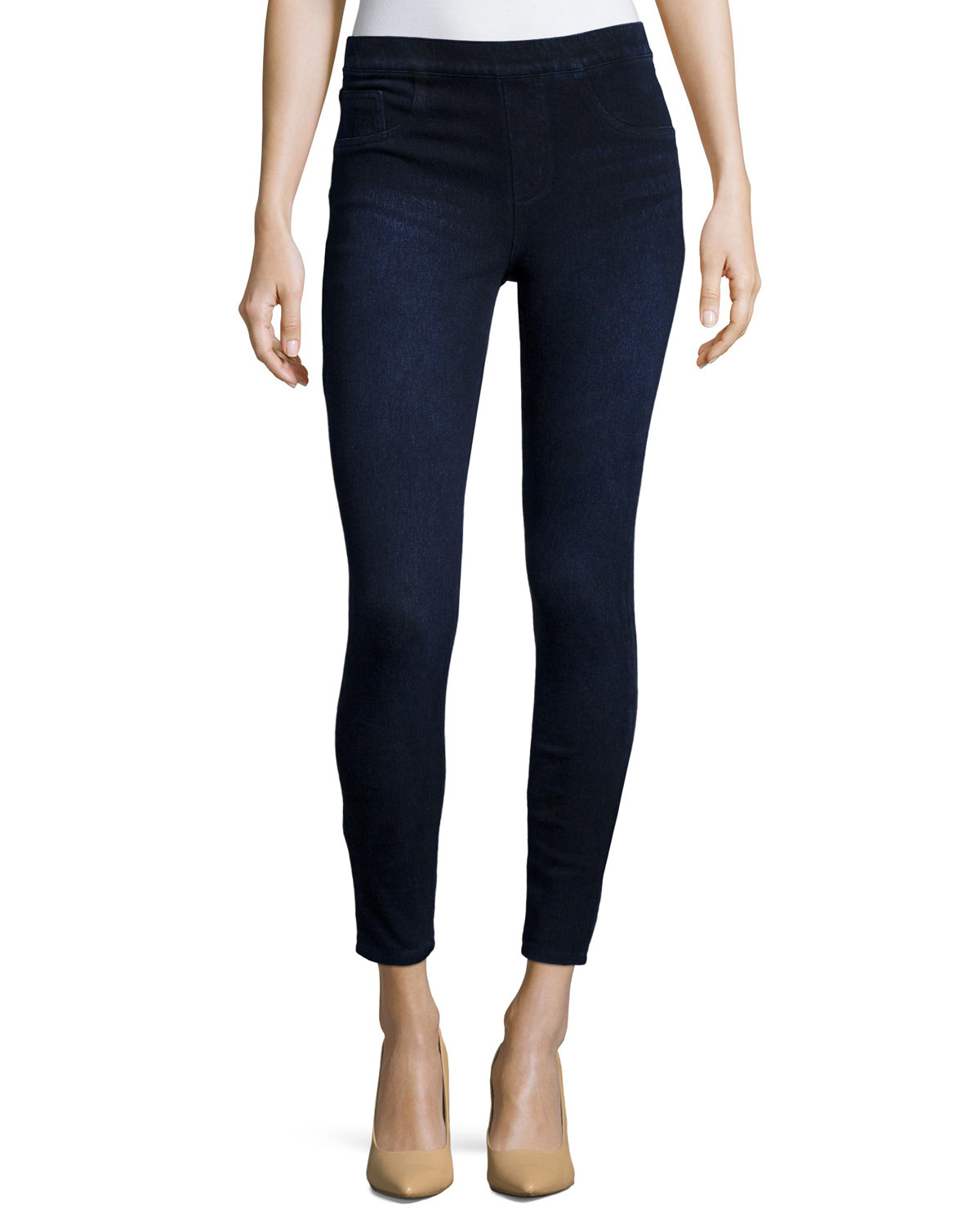 Spanx Cropped Denim Knit Leggings in Blue