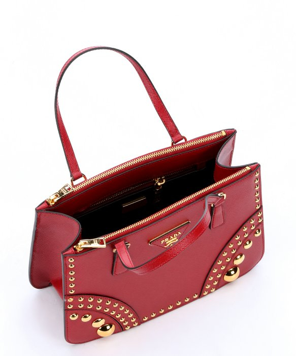 Prada Red Saffiano Leather Studded Top Handle Bag in Red | Lyst