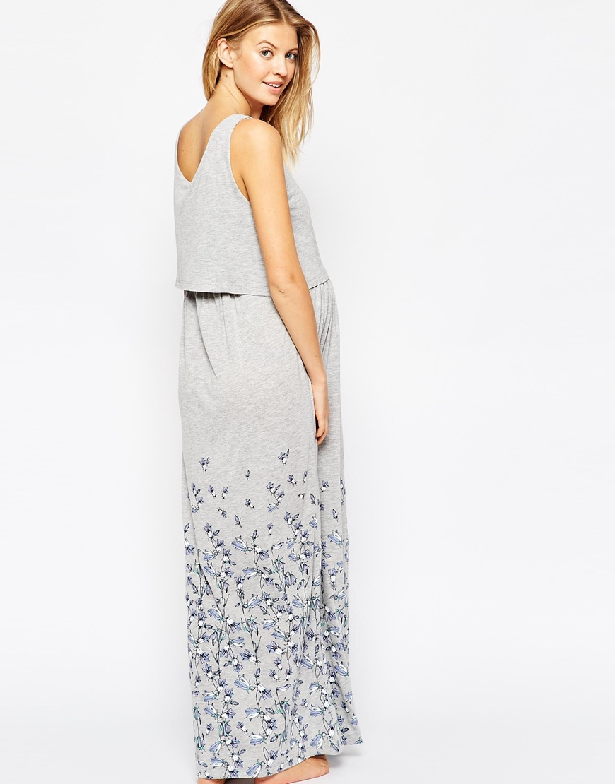Asos nursing maxi floral nightdress in gray lyst gallery ombrellifo Image collections