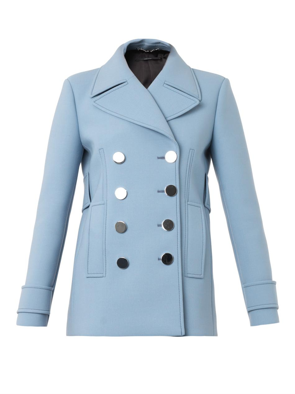 5bcc18a7f297 Lyst - Gucci Neoprenewool Pea Coat in Blue