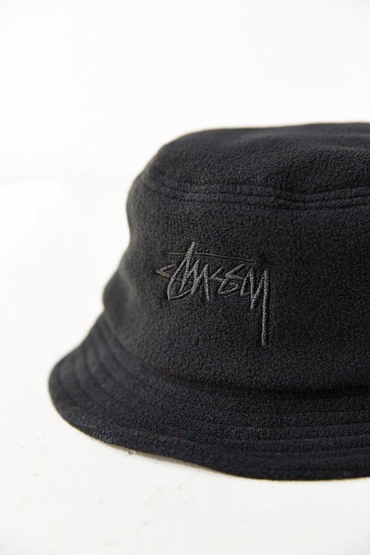 9033d78a6e5 Lyst - Stussy X Uo Polar Fleece Bucket Hat in Black