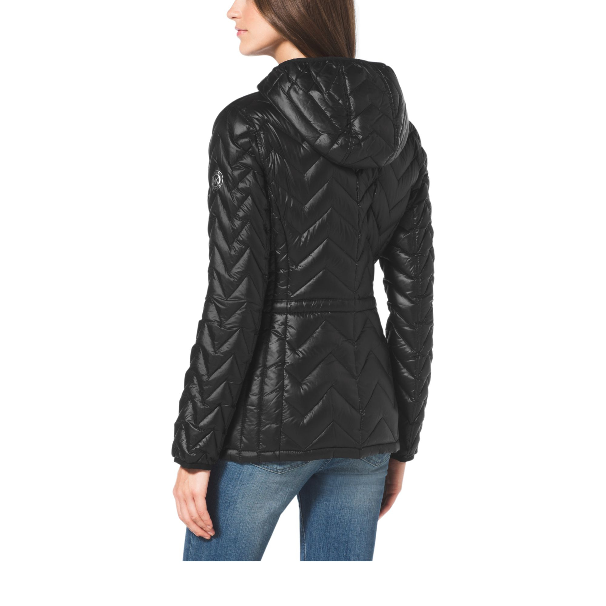 Lyst Michael Kors Chevron Quilted Nylon Jacket in Black