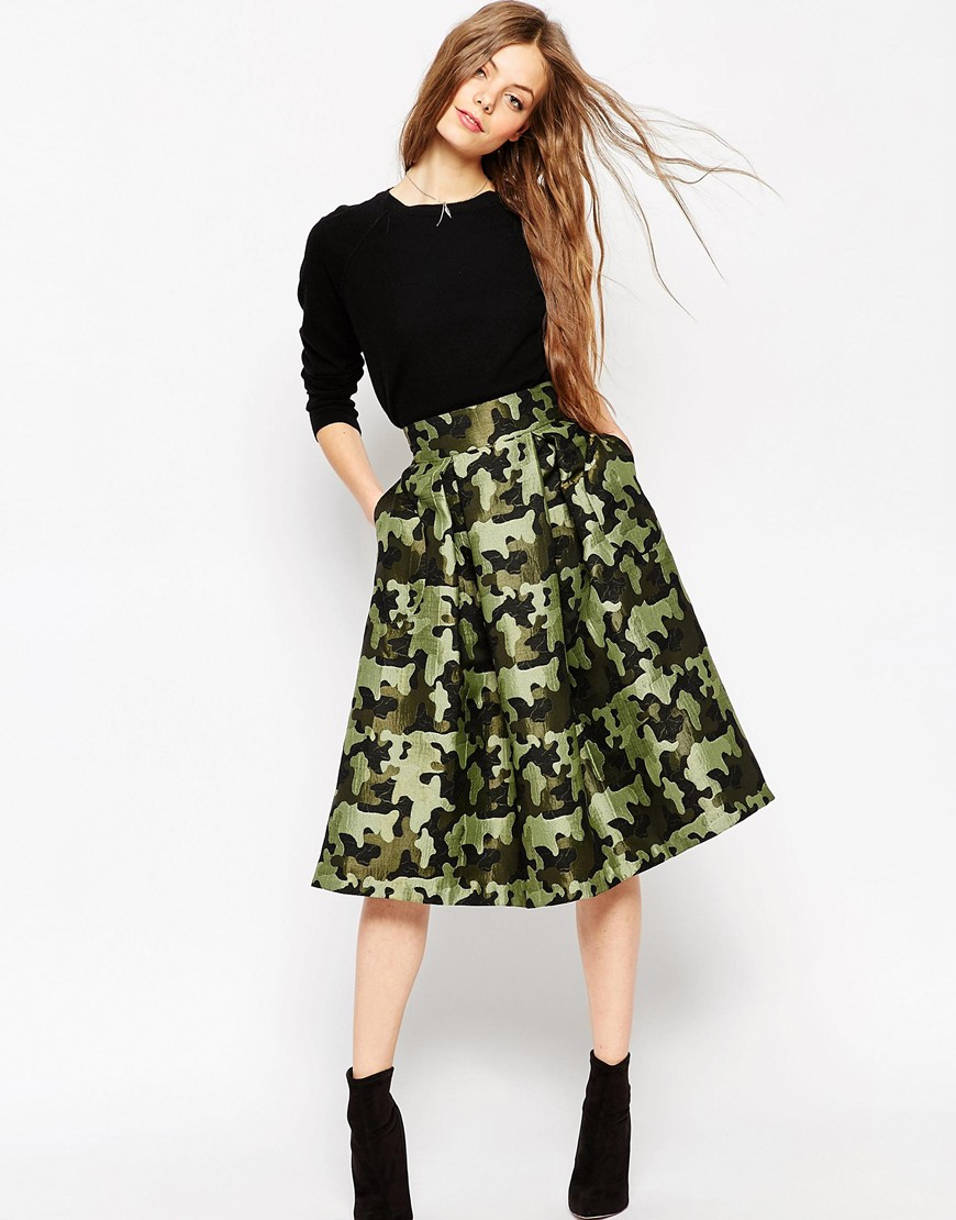 Asos Full Midi Skirt In Camouflage Jacquard - Multi in Green | Lyst