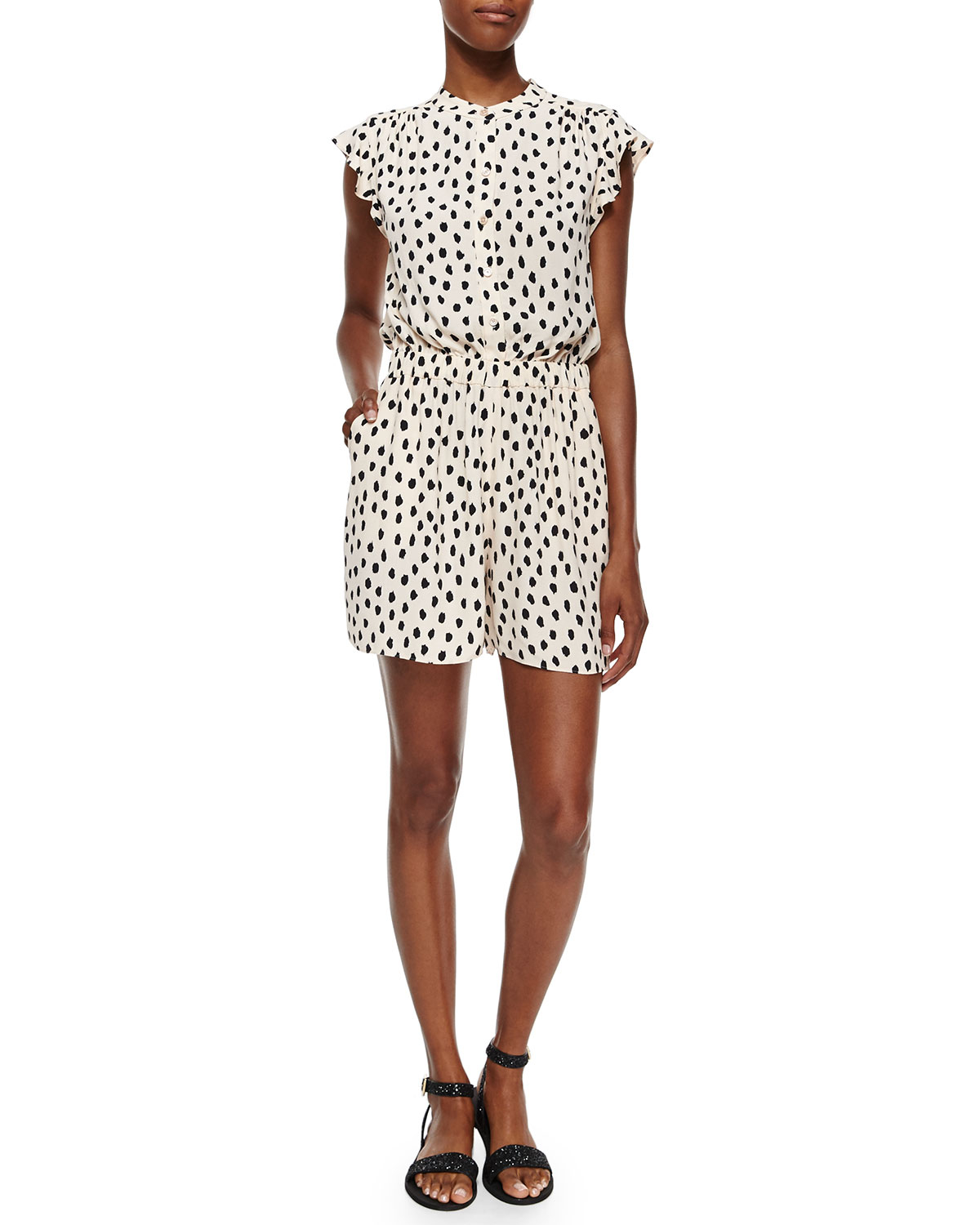 a058d7df60c Lyst - Kate Spade Cap-sleeve Leopard-print Short Jumpsuit in White