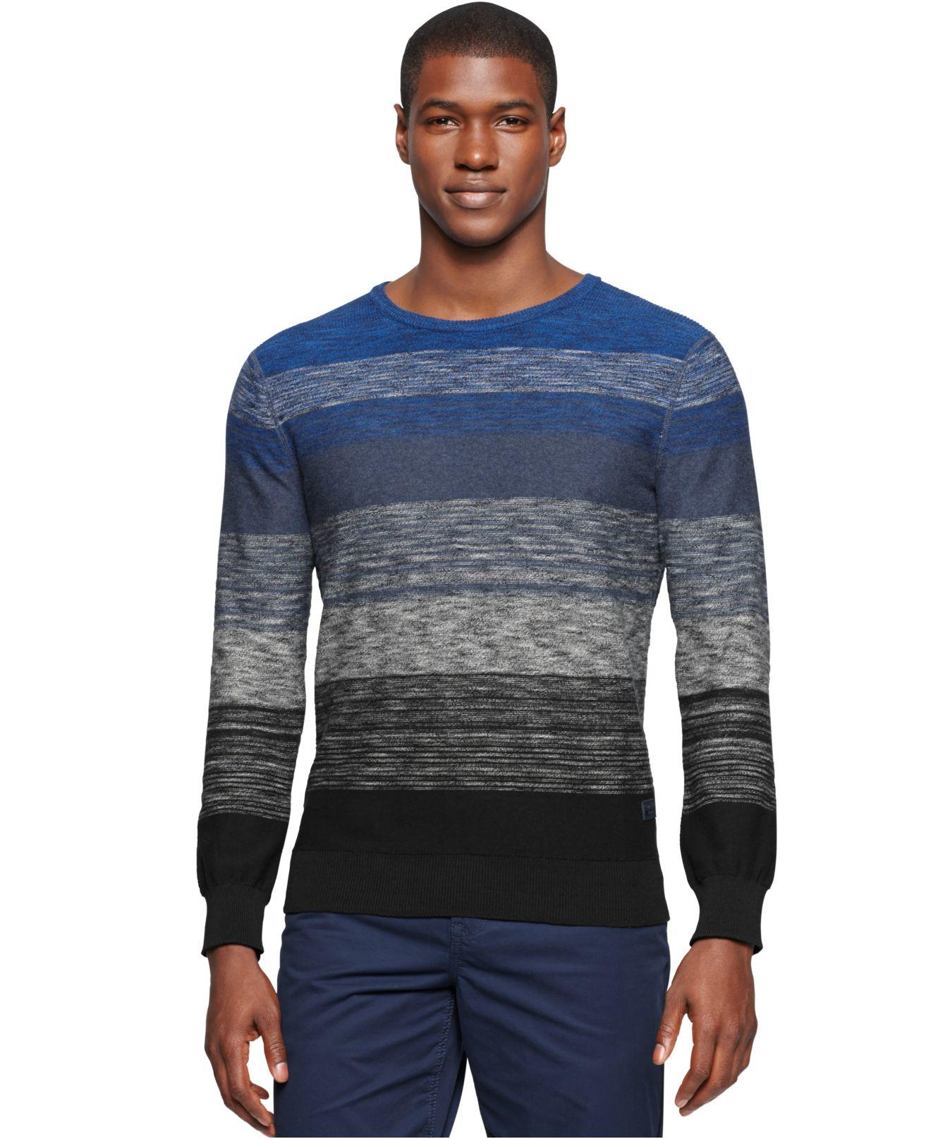 calvin klein jeans ombre colorblock stripe sweater in gray. Black Bedroom Furniture Sets. Home Design Ideas