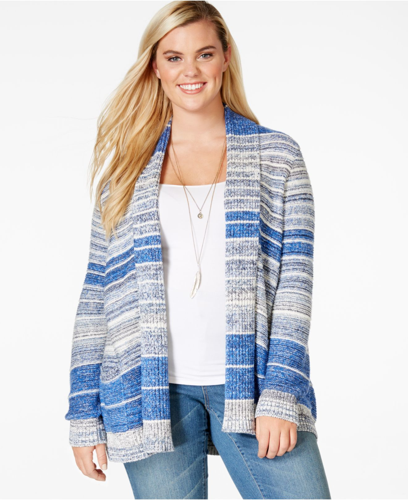 263ce0761c416 Lyst - Lucky Brand Lucky Brand Plus Size Striped Open-front Cardigan ...
