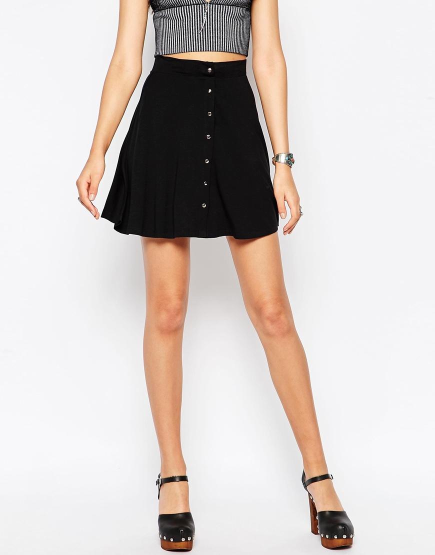 River Island Black Side Button Skirt