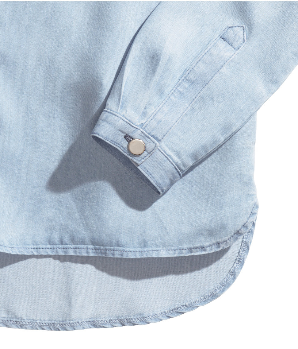 2dac257a7c9a H&M Lyocell Denim Shirt in Blue - Lyst
