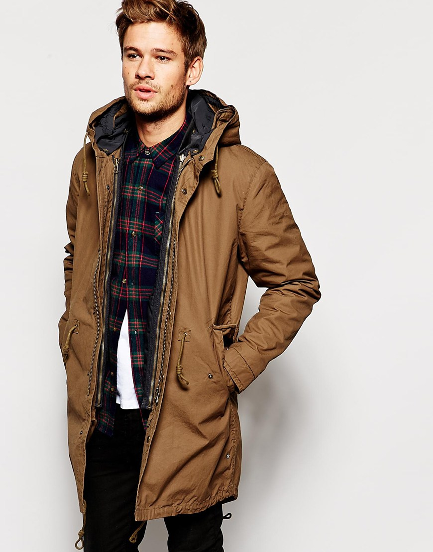 Selected Premium Fishtail Parka With Detachable Lining in Brown ...