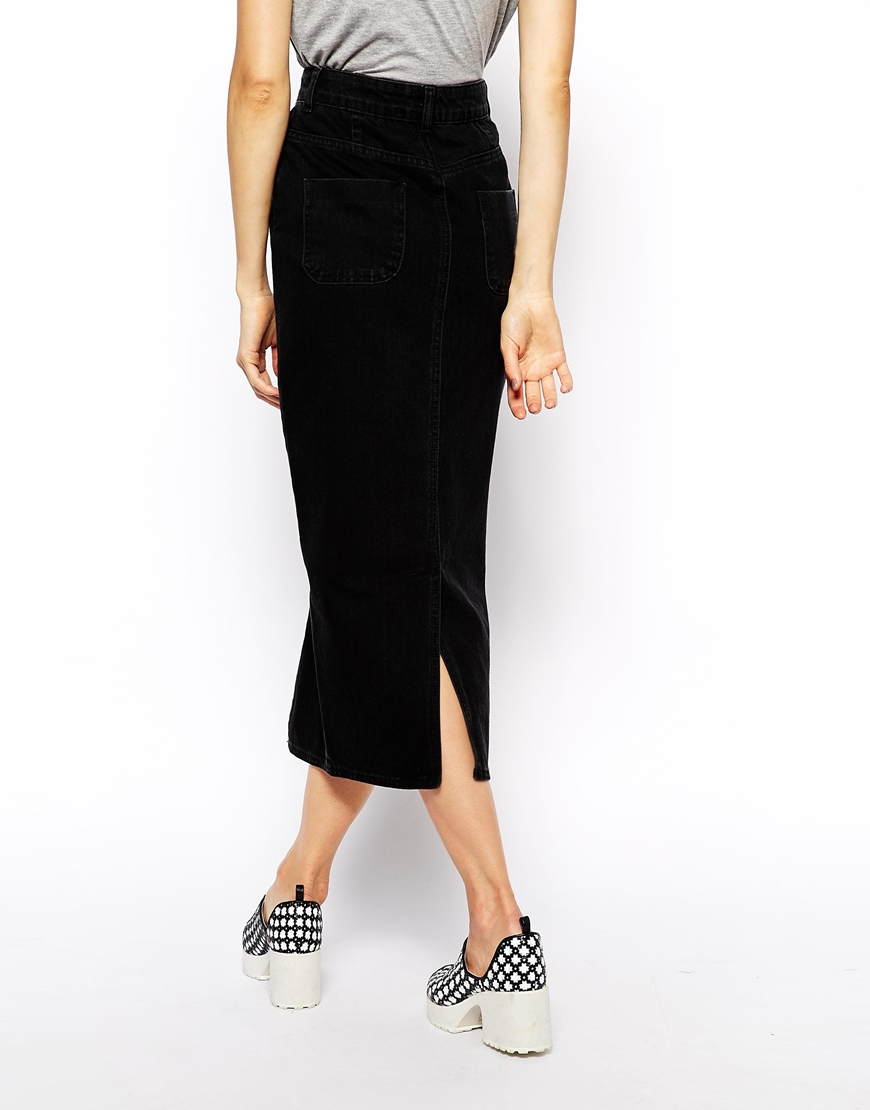 Asos Denim Mom Skirt In Washed Black in Black | Lyst