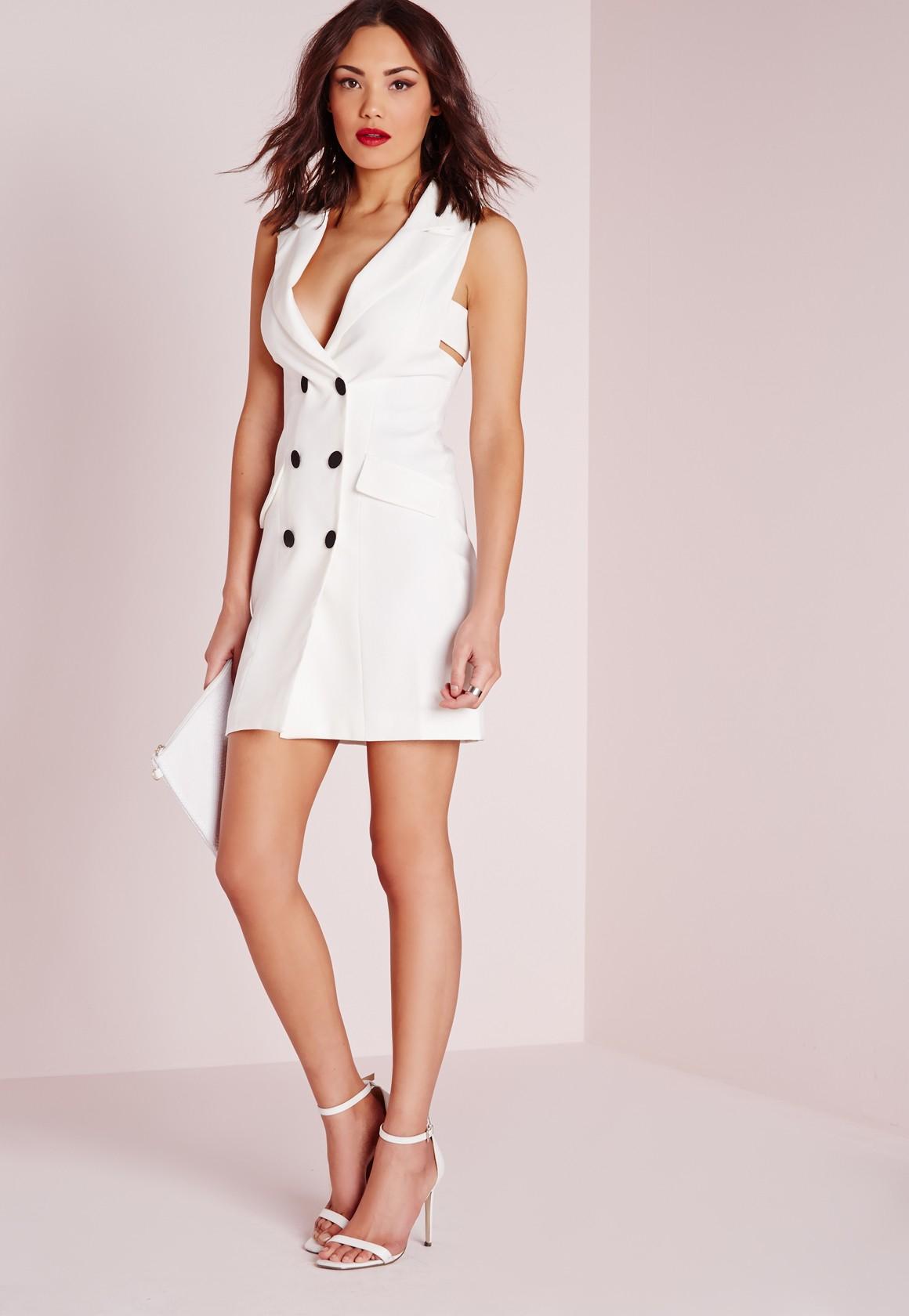 5d3672d0e7eec Lyst - Missguided Crepe Sleeveless Blazer Dress White in White