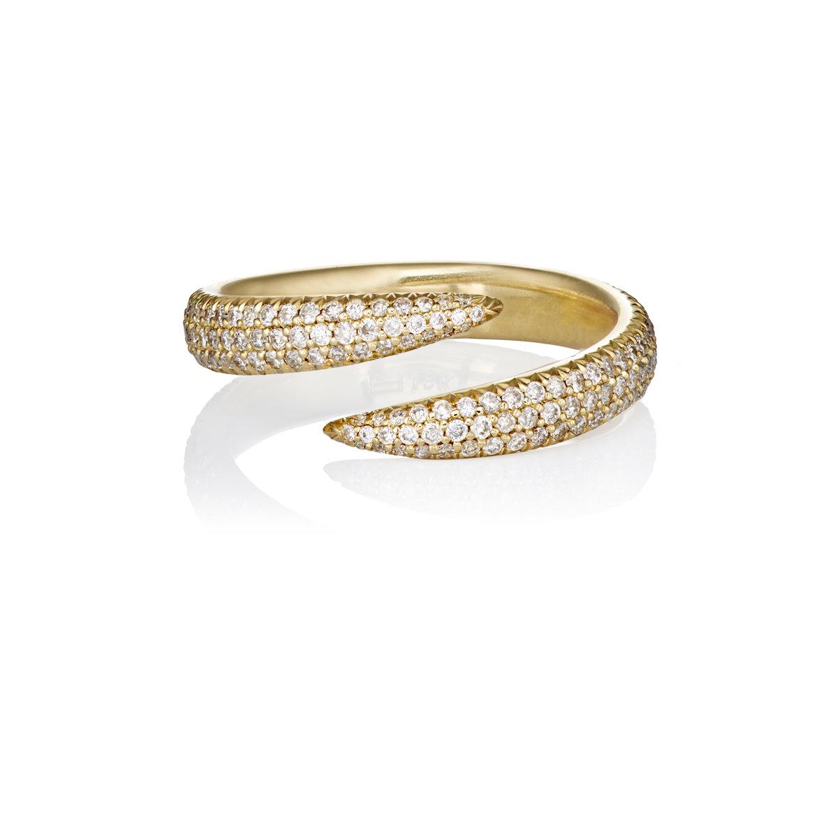 Eva Fehren Wrap Claw Pave Ring in Metallics KKKPv