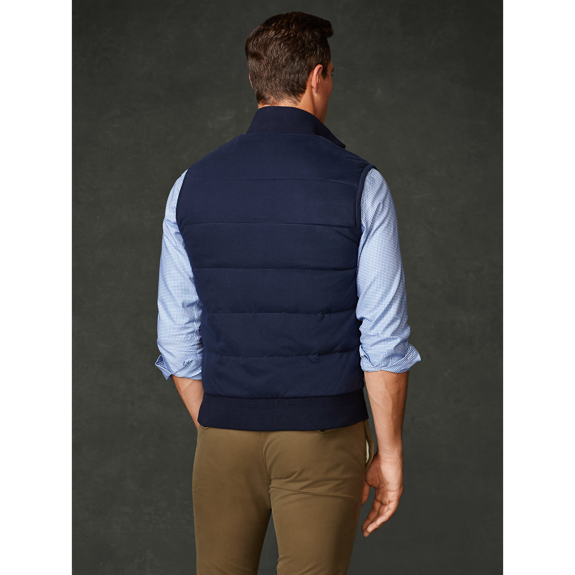 Ralph Lauren Purple Label Quilted Down Vest In Blue For