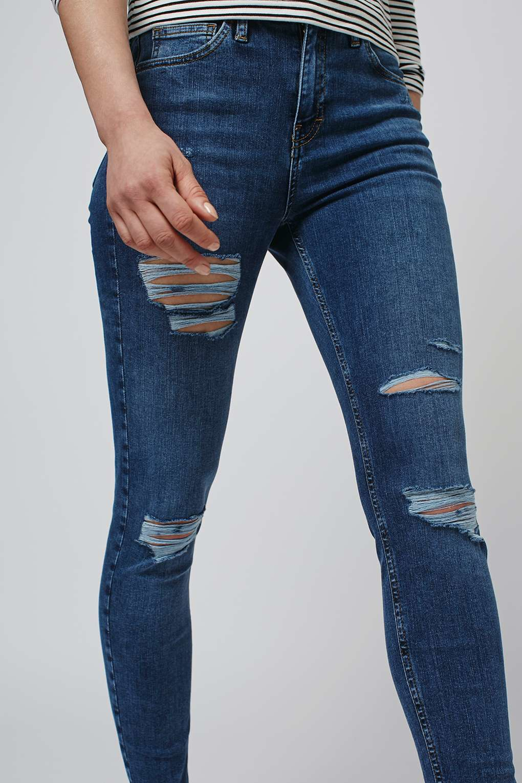 c49f6707740 TOPSHOP Moto Super Rip Jamie Jeans in Blue - Lyst