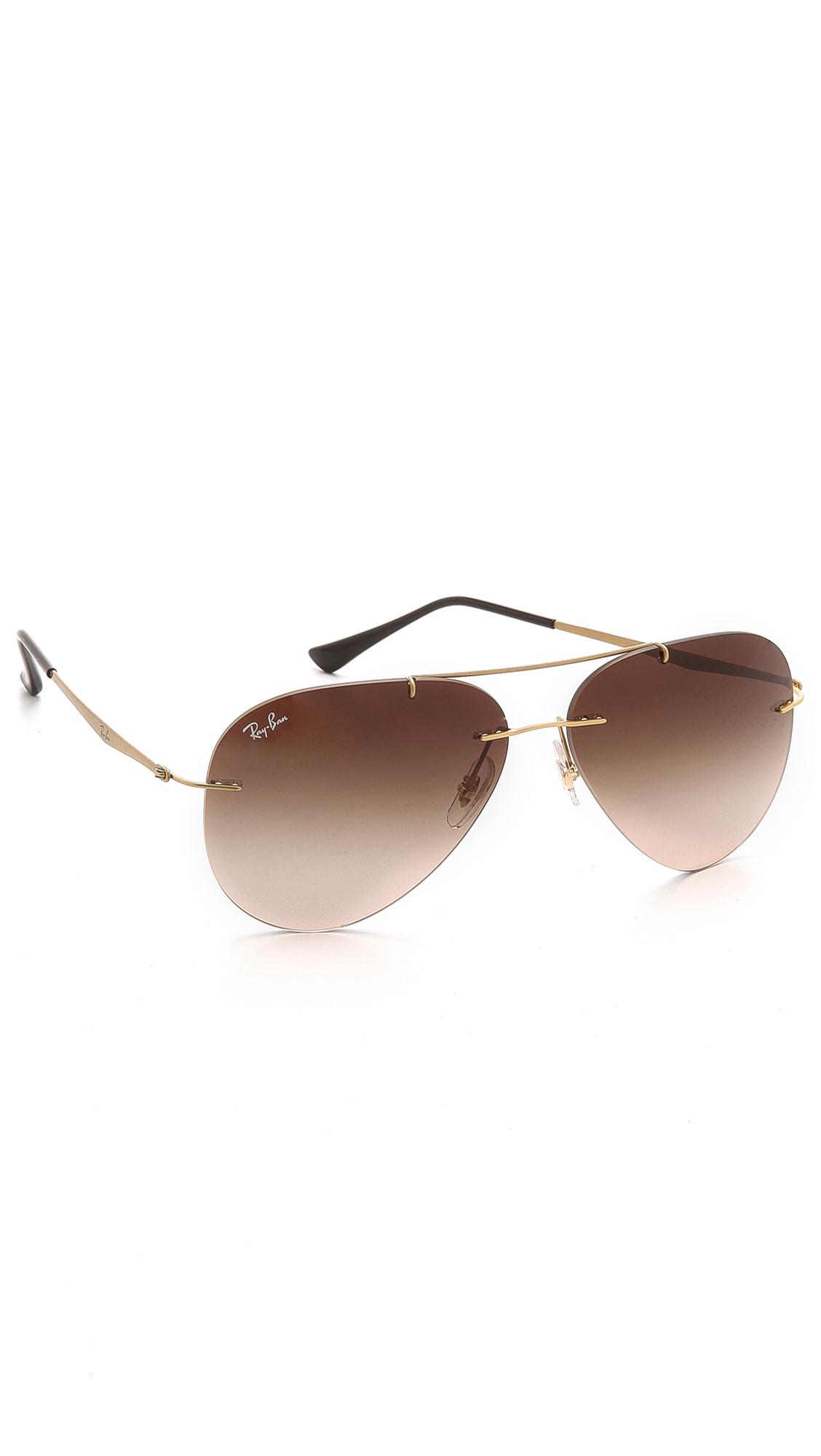 Lyst Ray Ban Light Tech Aviator Sunglasses In Metallic
