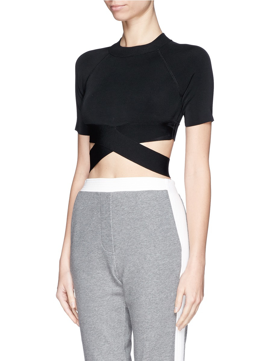 6fa05ffca4ce76 T By Alexander Wang Criss Cross Band Stretch Cropped Top in Black - Lyst