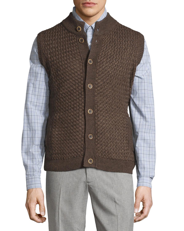 Robert talbott button front mock neck vest in brown for for Robert talbott shirts sale