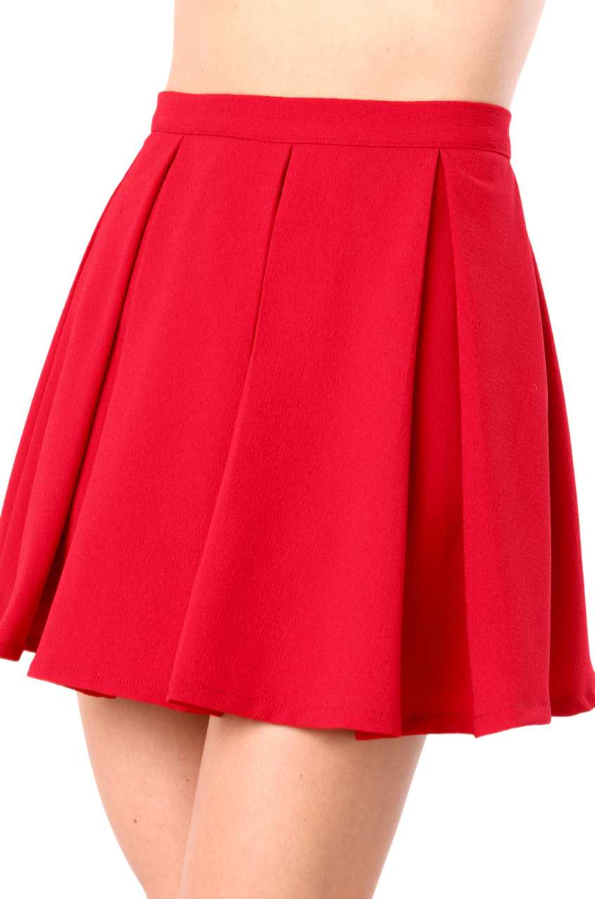 black label pleated skater skirt in burgundy in