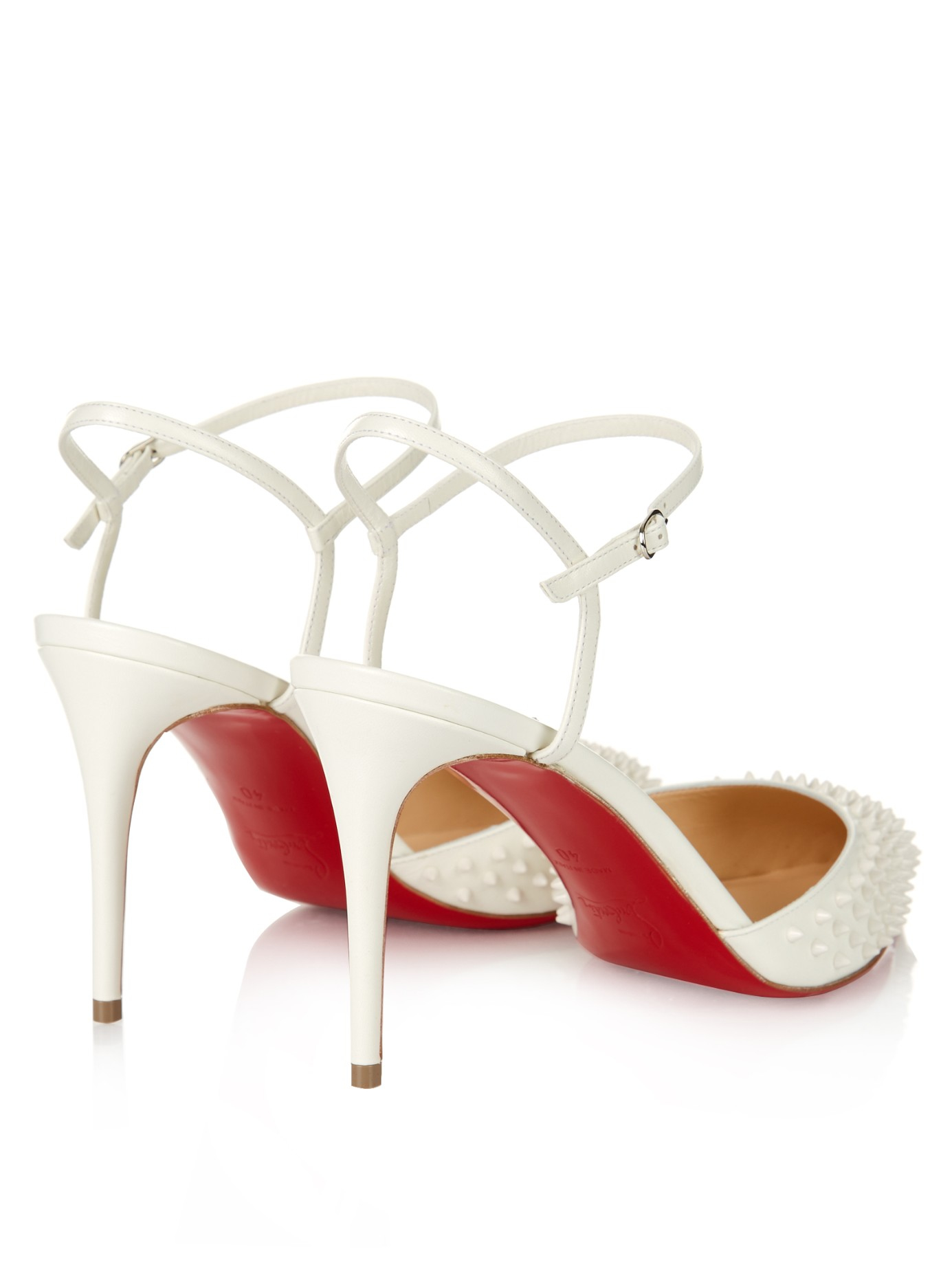 Christian louboutin Baiea 85mm Spike-embellished Pumps in White | Lyst