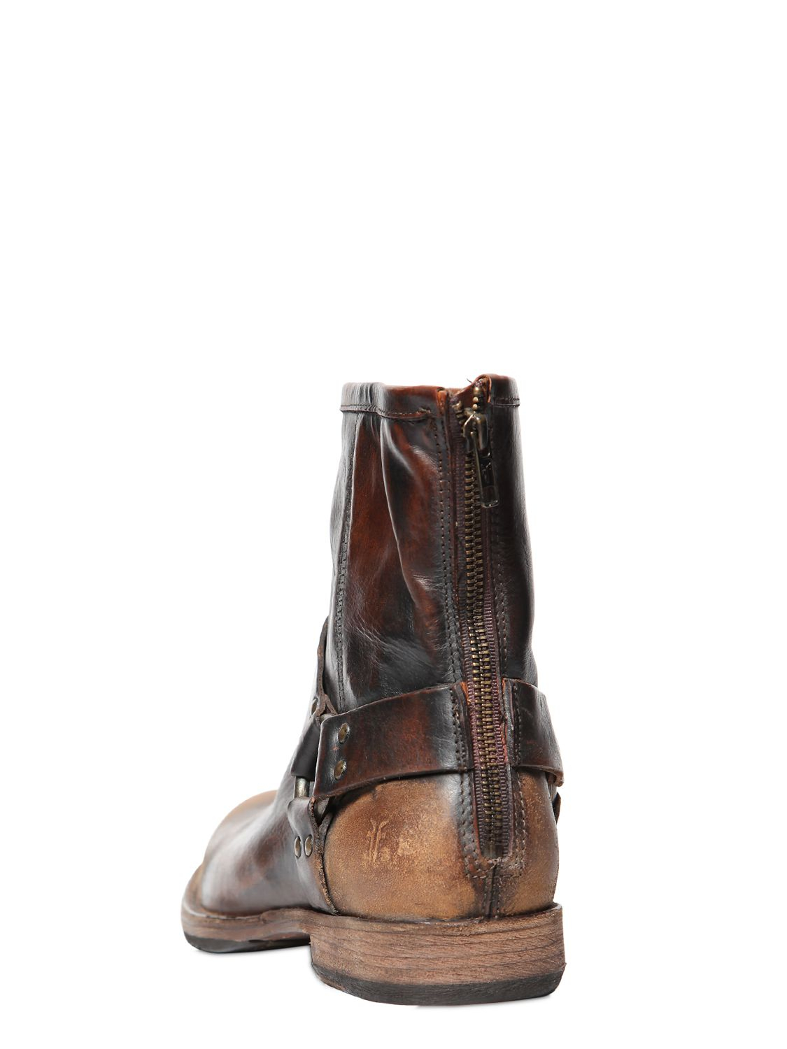Frye Phillip Harness Sanded Leather Boots In Brown For Men