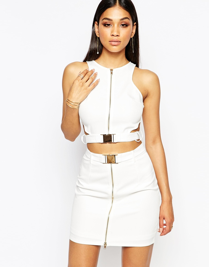756ffac9620f4 Missguided Buckle Zip Front Cut Out Crop Top in White - Lyst