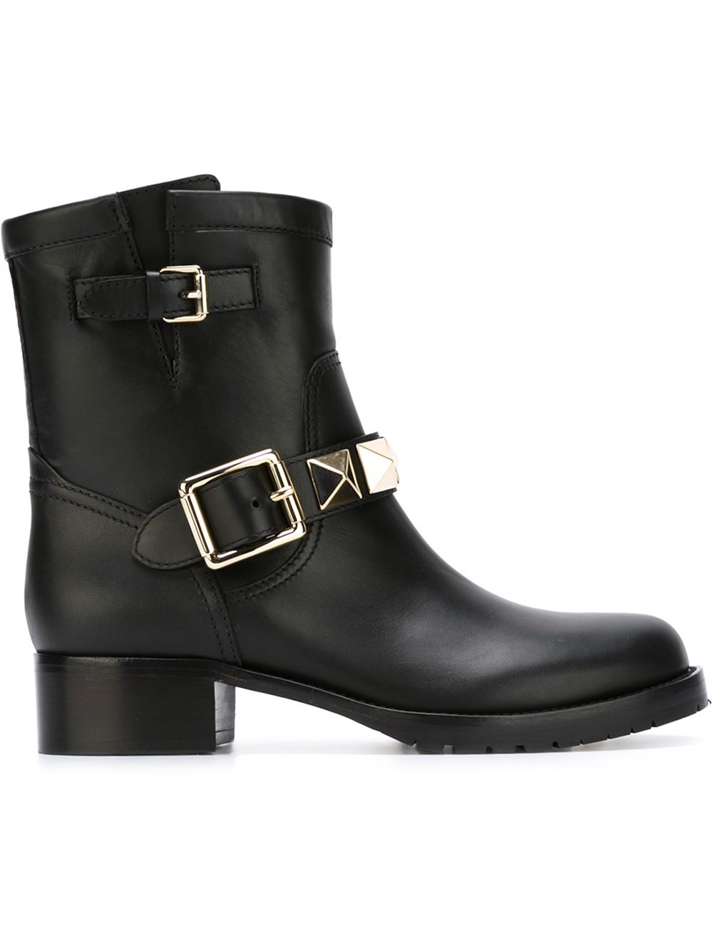 valentino rockstud combat boots in black lyst