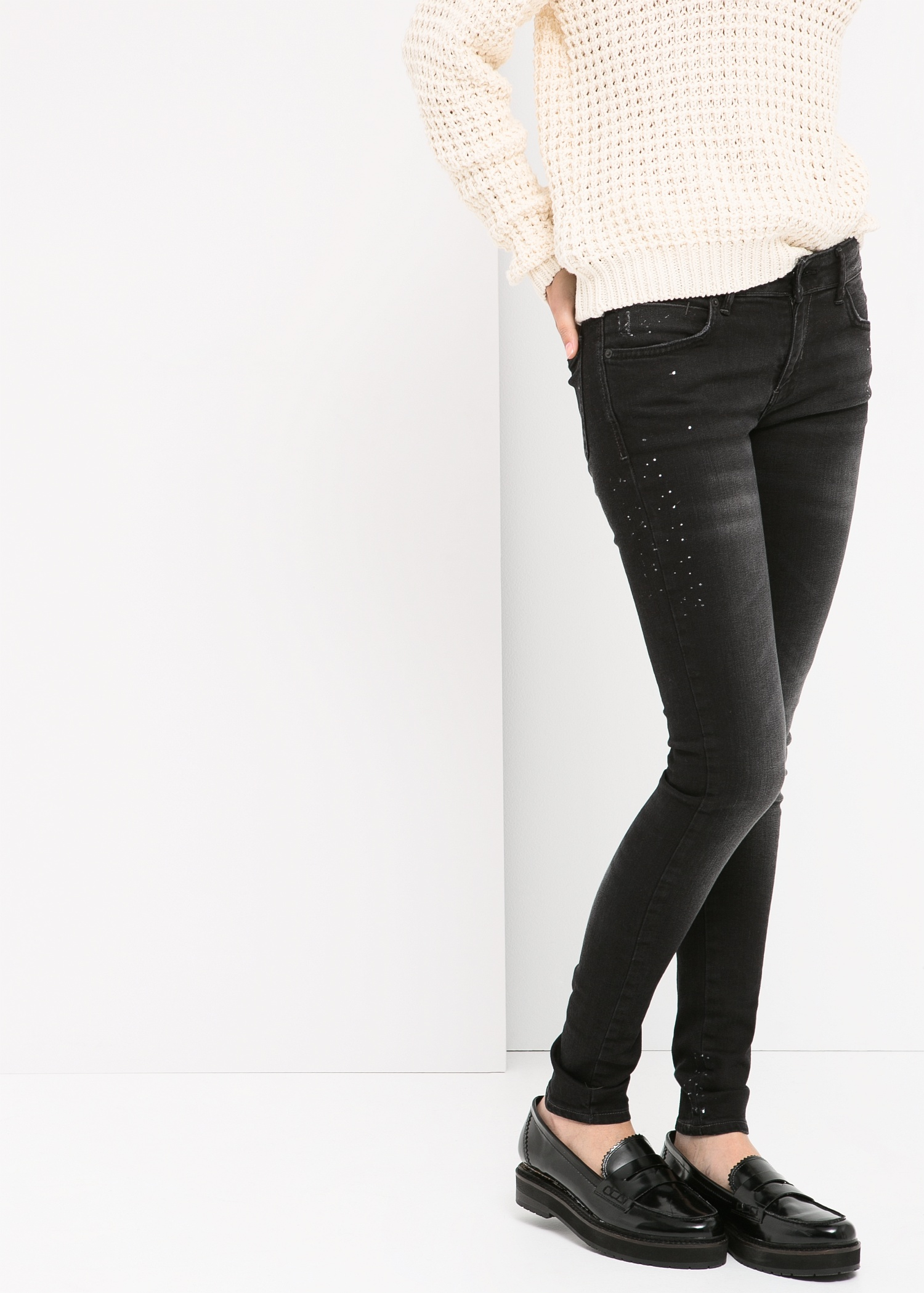Lyst - Mango Super Slim-Fit Arizona Jeans in Black