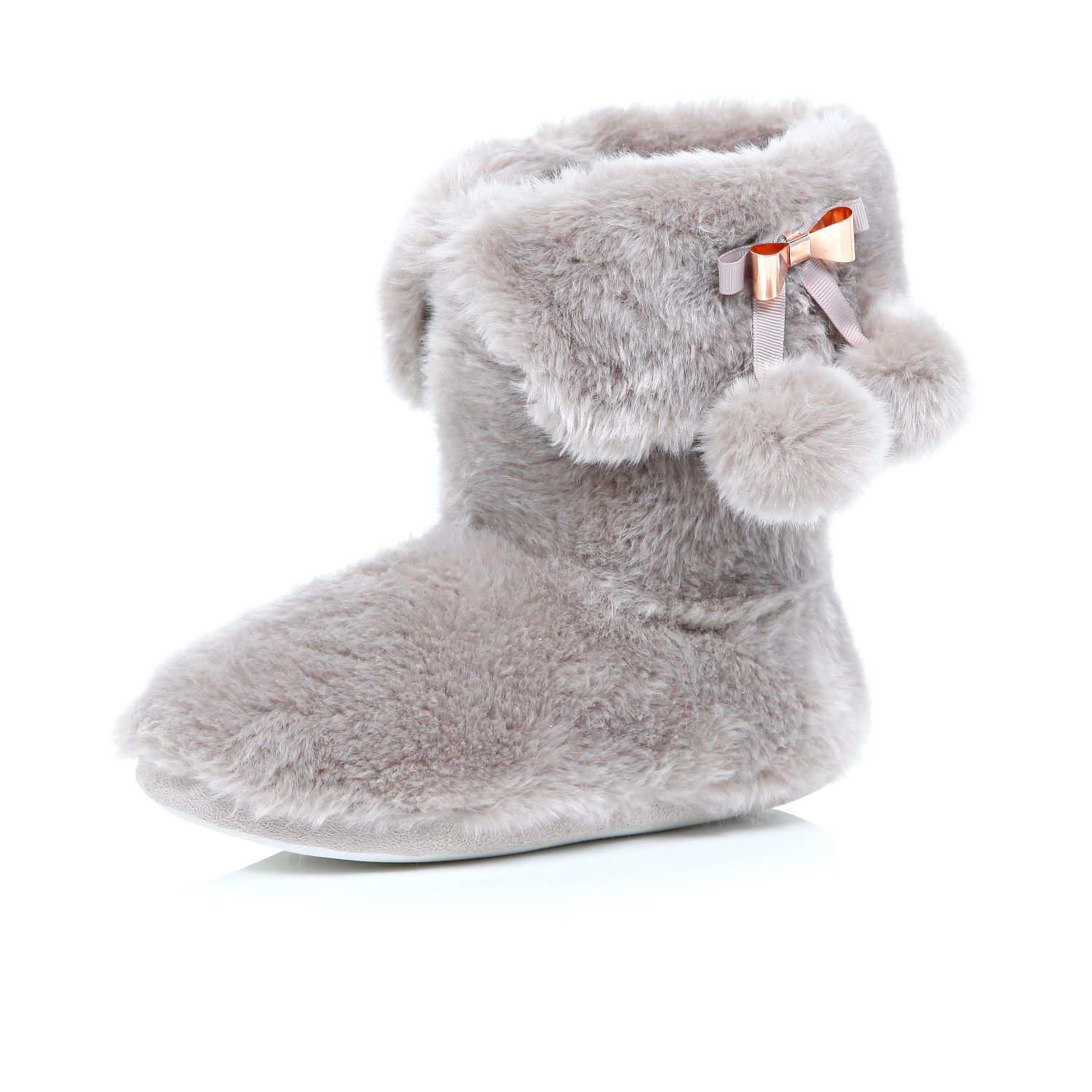 River Island Pink Fluffy Pom Pom Boot Slippers In Gray Lyst