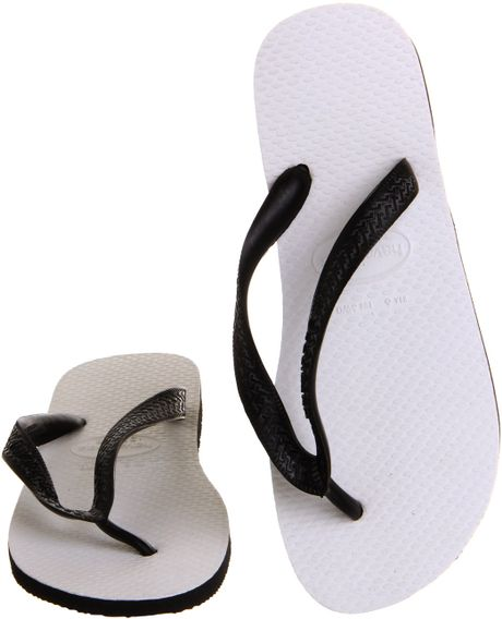 Havaianas Tradicional Flip Flop In White Black Lyst