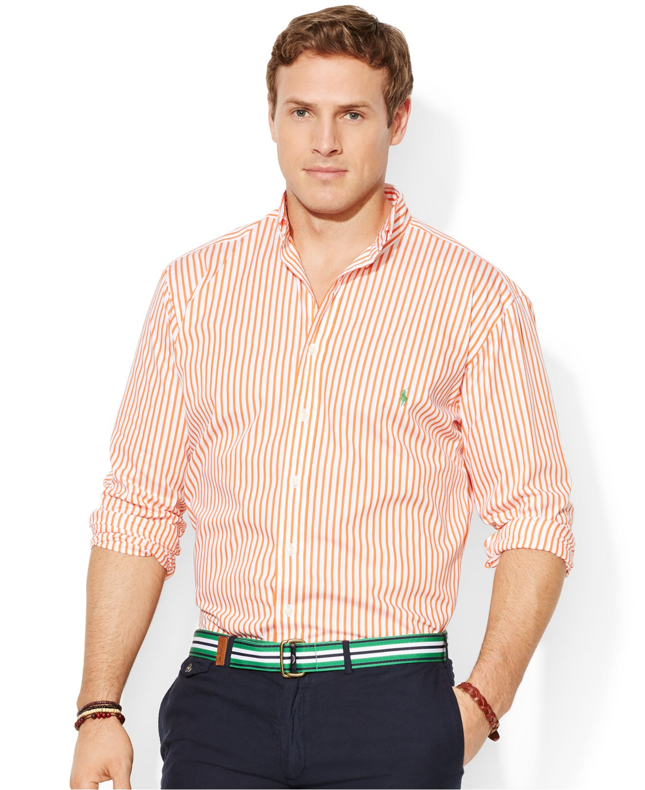 1d2b7ad45 Polo Ralph Lauren Big And Tall Long-Sleeve Classic-Fit Striped ...