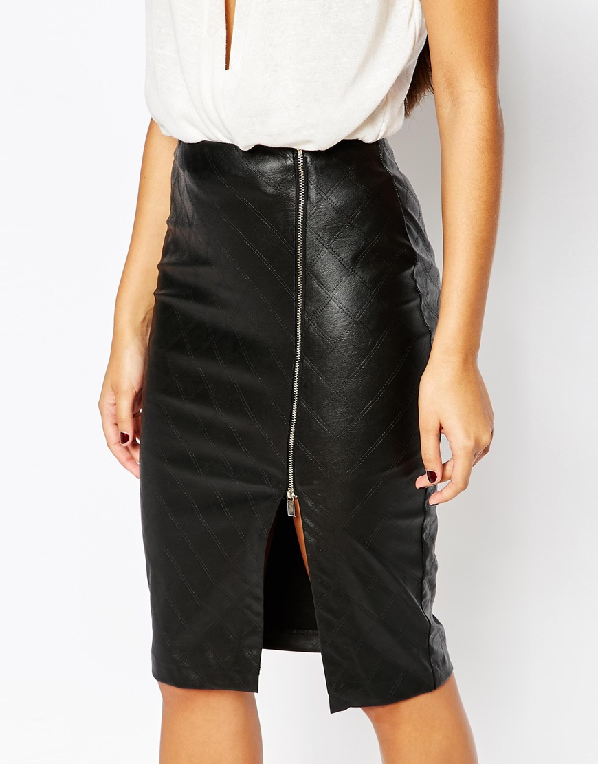 Lipsy Quilted Faux Leather Pencil Skirt With Side Split