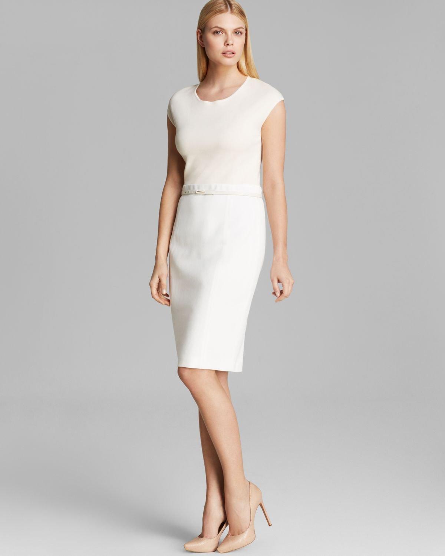 max mara dress kuban stuoia cap sleeve belted in white