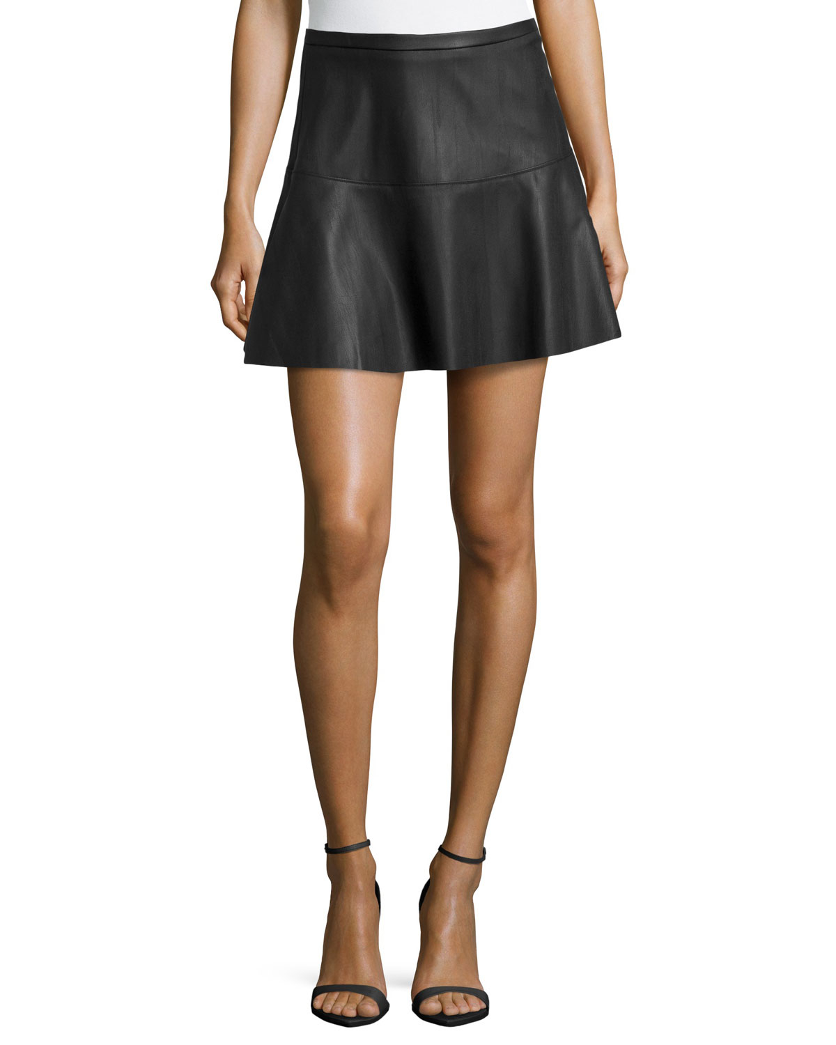 dex faux leather flared skirt in black lyst