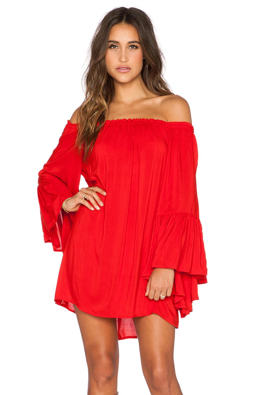 Indah Kamani Off The Shoulder Mini Dress In Red Lyst