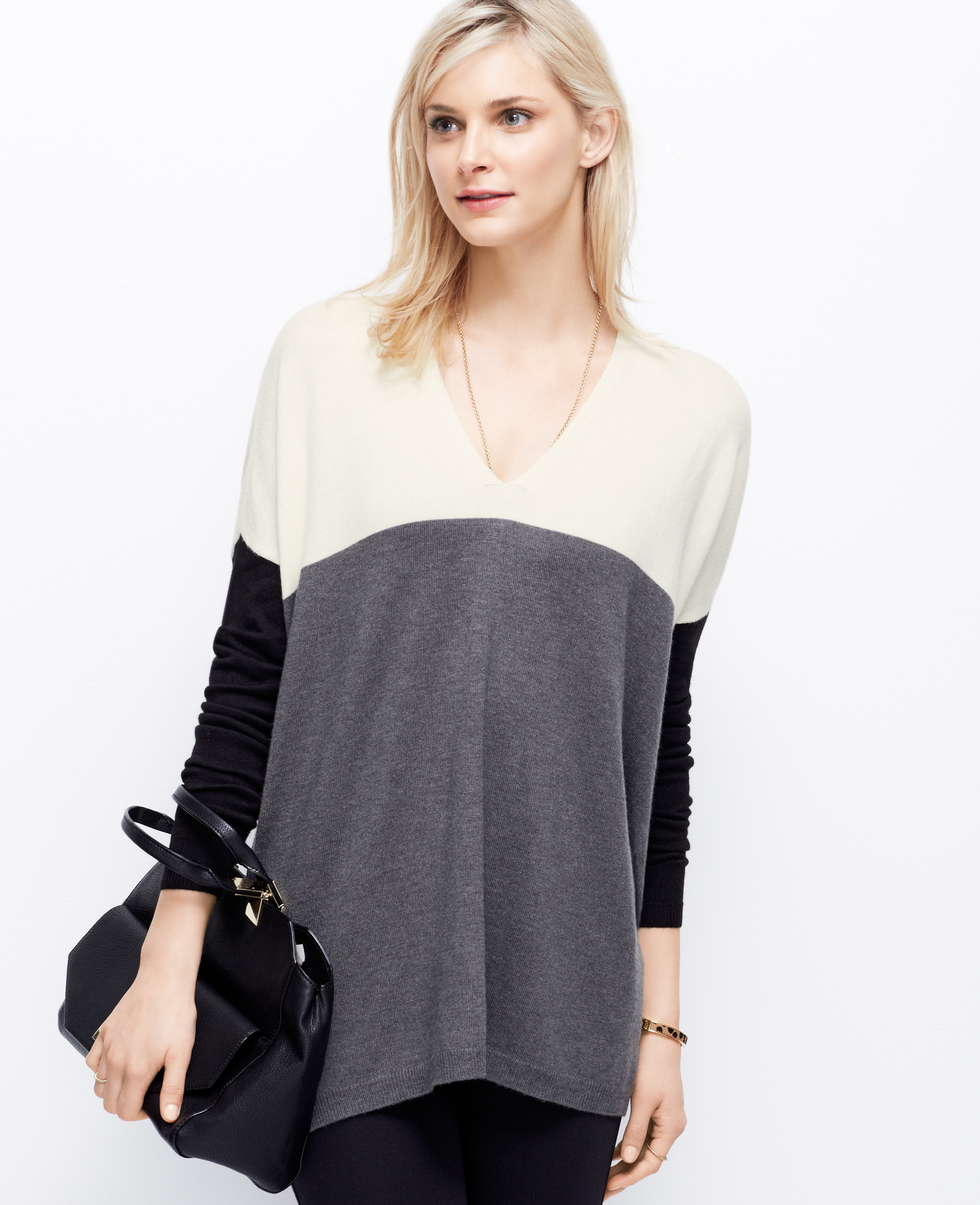 Ann taylor Petite Colorblock V-neck Tunic Sweater in Metallic | Lyst