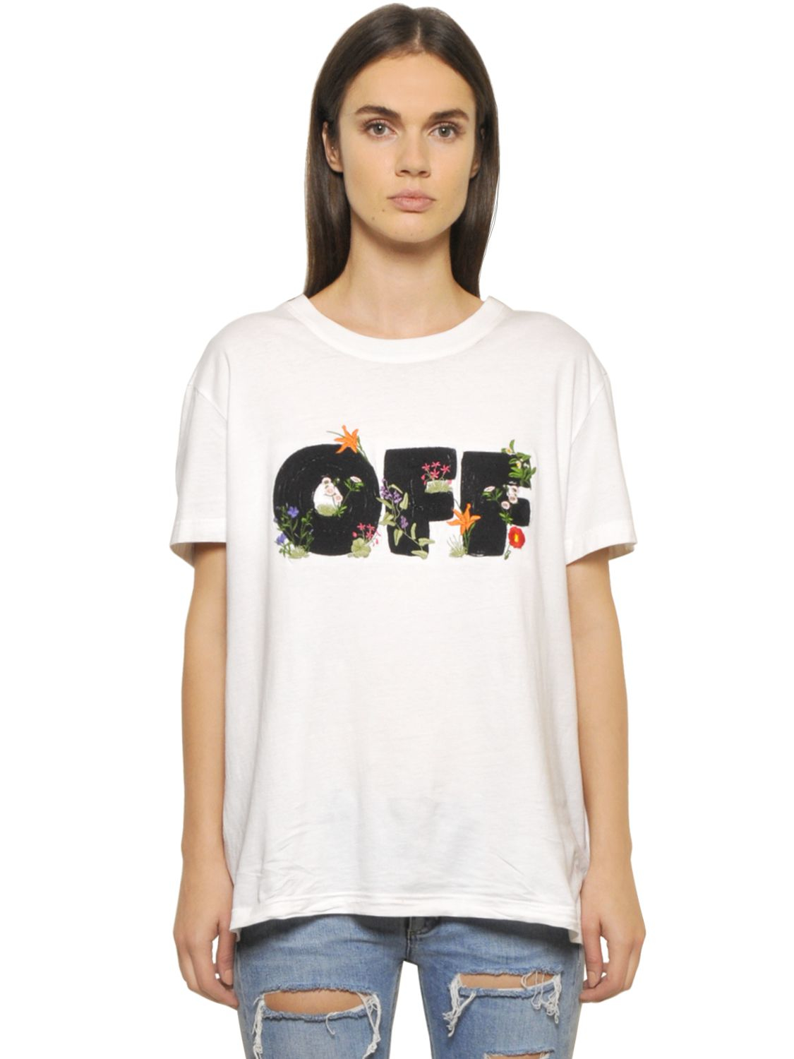 lyst off white c o virgil abloh flower embroidered cotton jersey t shirt in white. Black Bedroom Furniture Sets. Home Design Ideas