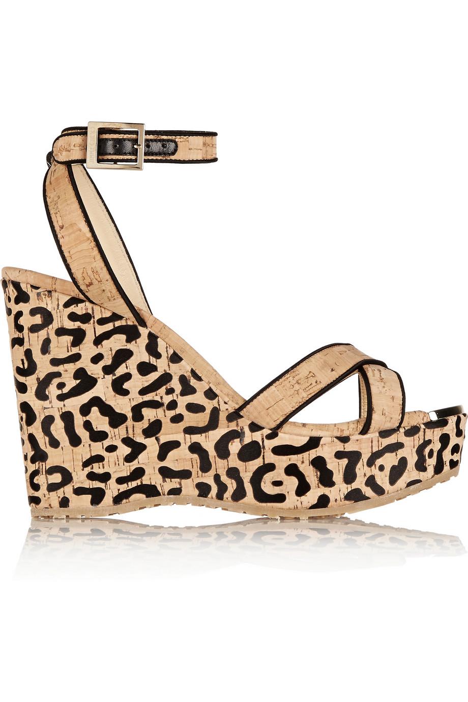 Jimmy Choo Papyrus Leopard Print Cork Wedge Sandals In