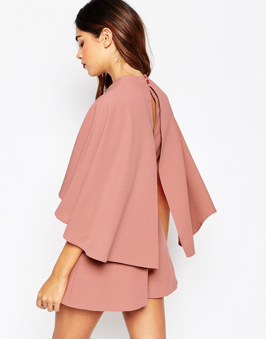 Asos Petite Playsuit With Cape Sleeve in Pink | Lyst