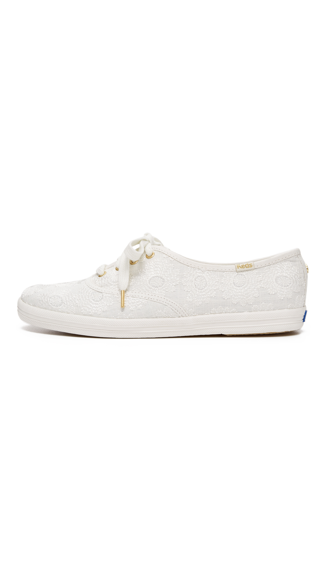 Lyst - Kate Spade Keds For Kate Spade Kick Embroidered Sneakers in White bfad84337f