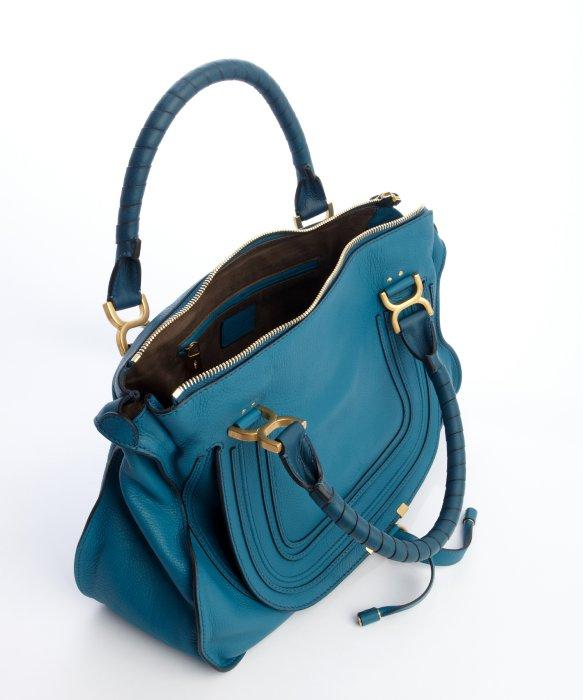 CHLOE Calfskin Medium Marcie Top Handle Bag Laguna Blue