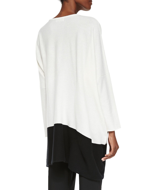 Eskandar Cashmere Tunic Sweater With Colorblock Hem in White | Lyst