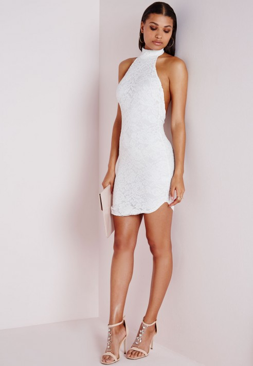 Lyst Missguided Lace High Neck Curve Hem Bodycon Dress