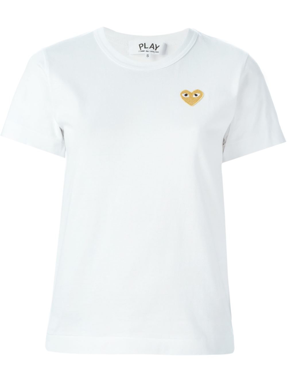 play comme des gar ons embroidered logo t shirt in white. Black Bedroom Furniture Sets. Home Design Ideas