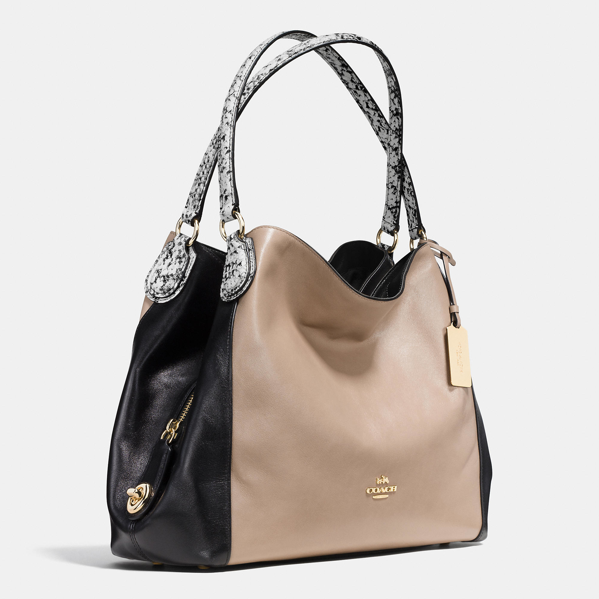 8f464bc4075f ... discount lyst coach edie 31 color blocked shoulder bag in natural 12f00  331db