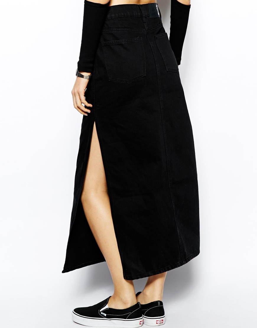 Cheap monday Denim Maxi Skirt in Black | Lyst