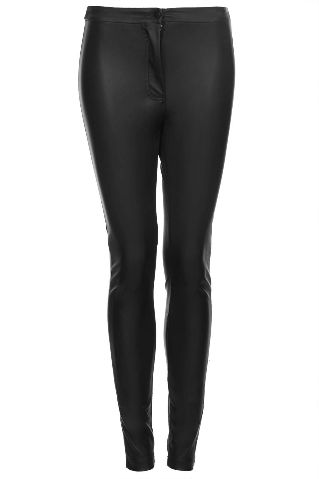 Black Leather Look Skinny Trousers River Island